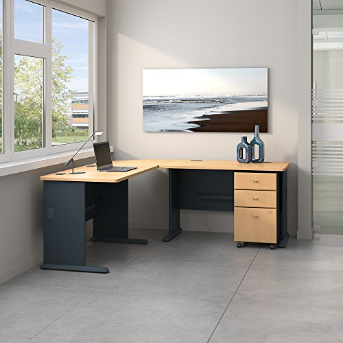 Bush Business Furniture Series A 75W x 75D L Shaped Desk with Mobile File Cabinet in Beech and ()
