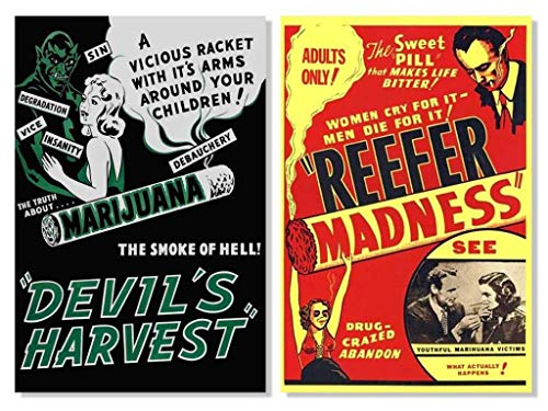 Set of 2 Devils Harvest Reefer Madness Marijuana Retro Movie Collectors Posters Set Bundle 24x36 -