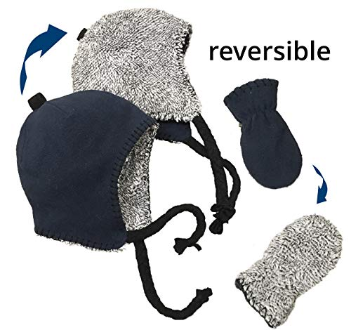 ds and Baby Reversible Hat and Mittens Fleece Skater Set (6-18 Months, Navy/Grey Mix Sherpa Infant) ()