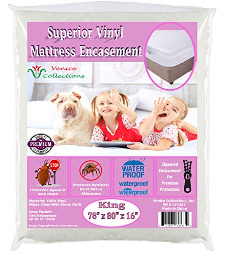 (v Superior Extra Heavy 8 Gauge Vinyl Mattress Protector Zippered Encasement Cover 100% Waterproof & Bed-Bug Proof King)
