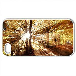 Autumnal dreaming - Case Cover for iPhone 4 and 4s (Forests Series, Watercolor style, White)