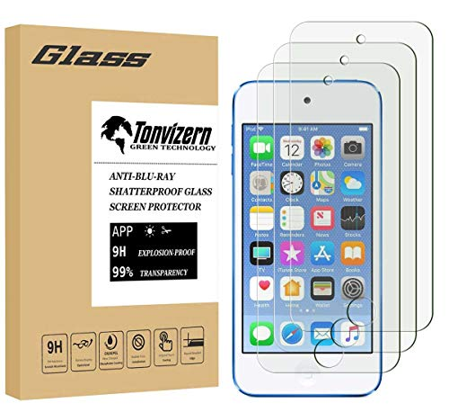 - Tonvizern [3 Pack] for Apple iPod Touch 7th / 6th / 5th Generation Tempered Glass Screen Protector Guard,Anti-Scratch Bubble Free 9H 0.26MM with Lifetime Replacement Warranty
