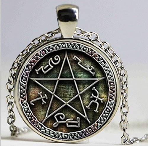 Devils Trap (Devil traps pentacle pendant, jewel, glass capo necklace)