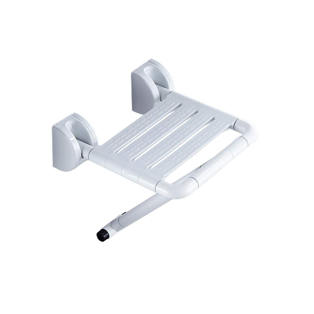 BEAUTY--shower stool, Bathing Auxiliary Seat Folding Chair Wall Mounted, Folding Wall Hanging Stool Shower Seat Can Withstand 220KG (Color : White)