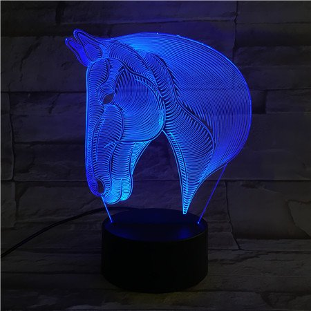 Xinya Horse Head 3D Illusion Lamp with Soft Warm Glow Desk Table Night Light Best Children's Day Gift Theme Decoration Lighting by Xinya
