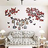 Alicemall Adesivi Murali Adesivo da Parete Wall Sticker in Acrilico Rimovibile a Forma di Albero con Rami Incurvati e Cornici Porta Foto (Stile 1 Rosso)