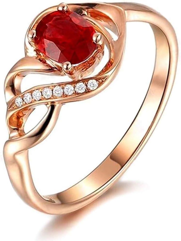 恋人の結婚式の婚約のための宝石のルビー9Kローズゴールドダイヤモンドファイン女性のバンドリング、リングサイズソリッド:U