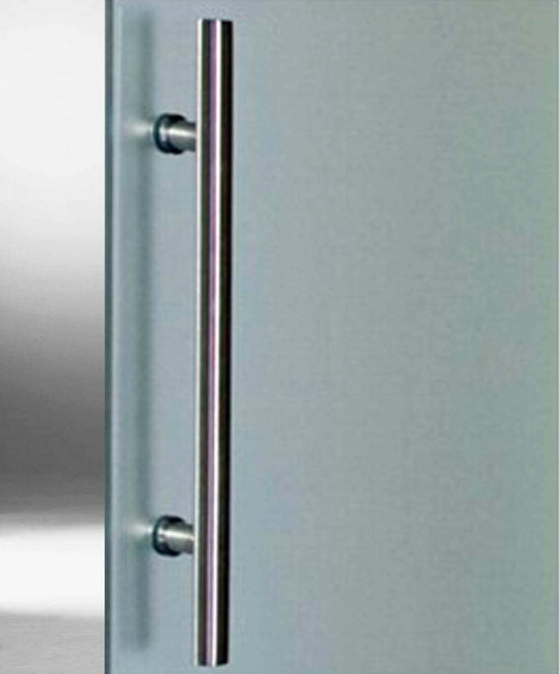 Schiebet/ürsystem ESG 775x2050x8mm Dekor S BS-775D-420-AS vollsatiniert; Schienensystem ALU SlimLine SoftStop; Griffstange rund 420