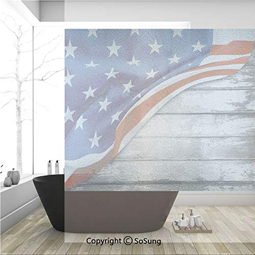 3D Decorative Privacy Window Films,Close Up Design Flag Over Antique Rustic Rippled Board Federal Country,No-Glue Self Static Cling Glass Film for Home Bedroom Bathroom Kitchen Office 36x36 Inch