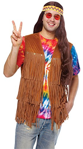 Costume Culture Men's Hippie Fringed Vest, Brown, Standard (Hippie Dress Up)