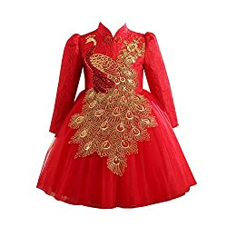 Sequin Long Sleeve Peacock Embroidery Cheongsam Dresses