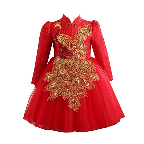 Soly Tech Kids Girls Chinese Qipao Sequin Long Sleeve Peacock Embroidery Cheongsam Dresses ()