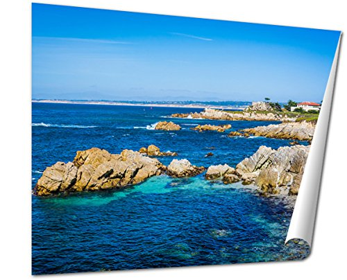 Ashley Giclee View Of Rocky Coastline In Pacific Grove California Wall art heavy thich museum grade artist paper, poster artwork ready to frame, 20x25 Print