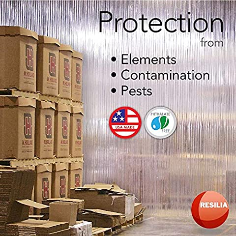 Resilia – Plastic Vinyl Strip Curtain for Walk In Freezers, Coolers & Warehouse Doors – Black Opaque, 80 mil Thick, 8…