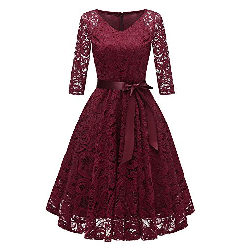 【MOHOLL】 Short Scoop Bridesmaid Floral Lace Dress Cocktail Formal Swing Dress Wine