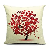 Summer Flowrs and Little Tree Printed Linen Cushion Cover 12