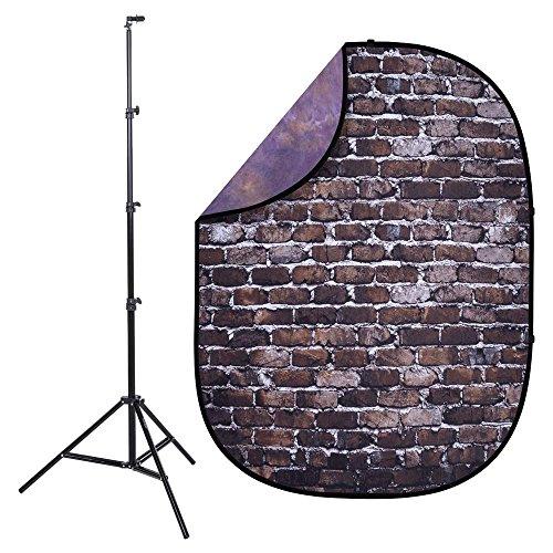 - Interfit PB406K Studio Essentials Collapsible - KIT - 5' x 6.5' Pop-Up Reversible Background with Reflector Stand & Clip, Back Alley Brick/Dark Purple/Light Purple