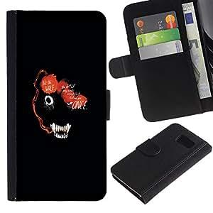 YiPhone /// Tirón de la caja Cartera de cuero con ranuras para tarjetas - RESUMEN DE LOS ANIMALES DE LA CARA OSCURA DEL LOBO - Samsung Galaxy S6