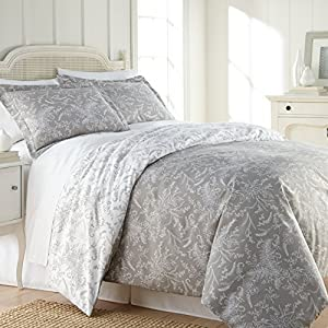Southshore Fine Linens - Winter Brush Print - Reversible Duvet Cover Sets, 3 Piece Set, Full / Queen, Steel Grey