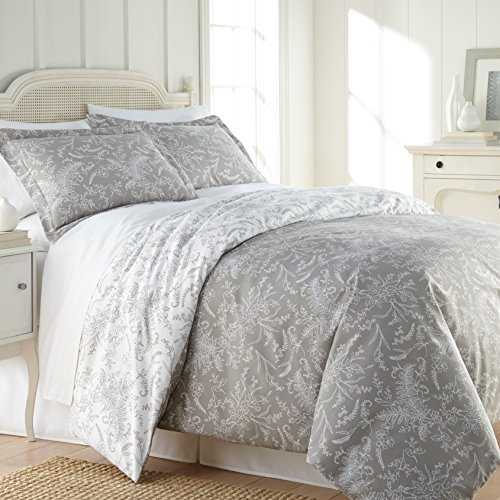 Southshore Fine Linens - Winter Brush Print - Reversible Comforter Sets, 3 Piece Set, Full / Queen, Steel Grey
