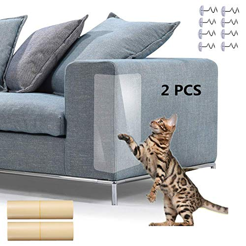 (Cat Furniture Protector 2 PCS, Furniture Scratch Guards Couch Protector, Clear Self-Adhesive Pet Scratch Guard for Furniture Sofa Upholstery Wall Mattress Car Seat Door Protector Pad with 8 Screws)