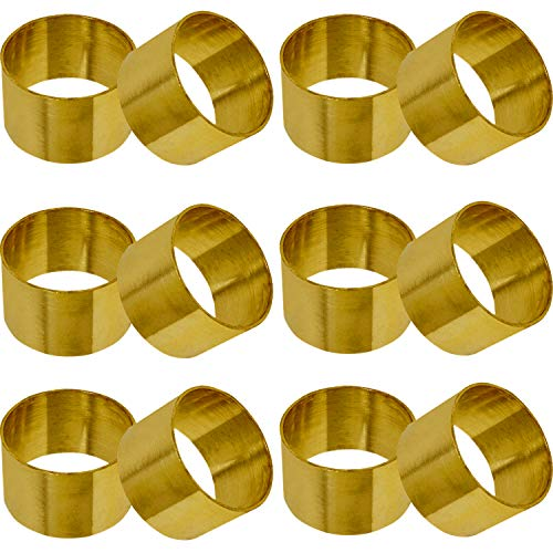 SKAVIJ Brass Solid Napkin Rings Set for Dining Table Decoration (Dia-1.5 Inch, Pack of 12, Gold)