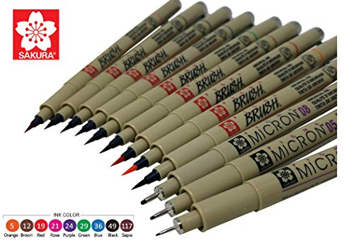 Asst Brushes - Sakura Pigma Micron 12 Fineliner Brush pen Archival ink Colored pens, Creative Artist drawing set with Pen pouch, Brush tip Assorted colors with Black (01, 05, 08)