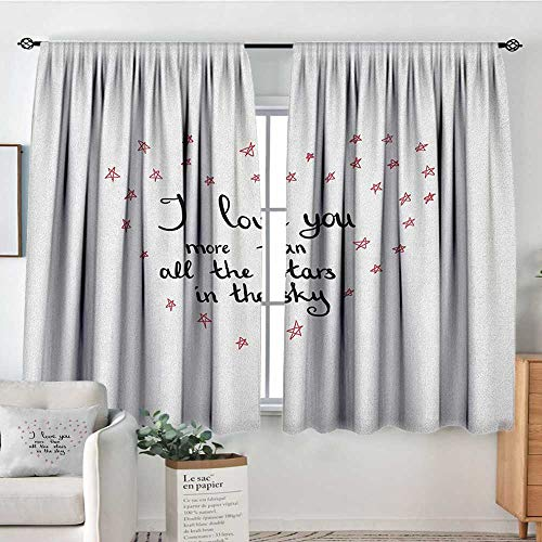 Theresa Dewey Curtains for Bedroom I Love You More,Hand Written Valentines Day Letters with Stars in Shape of a Heart, Red Grey White,Insulating Room Darkening Blackout Drapes 42