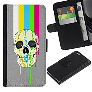 A-type (Modelo del arco iris Tv cráneo Líneas Gris) Colorida Impresión Funda Cuero Monedero Caja Bolsa Cubierta Caja Piel Card Slots Para Apple iPhone 5 / iPhone 5S