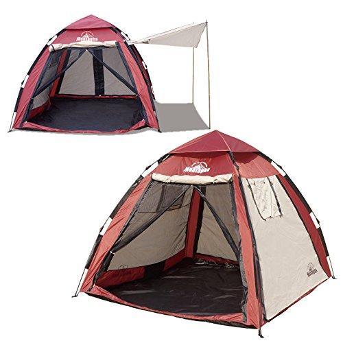 常習者こしょうラジエーターmontagna 4WAYスマートビルドメッシュテント 4~5人用 キャノピー付き 広げて、持ち上げて、下ろすだけの簡単設置
