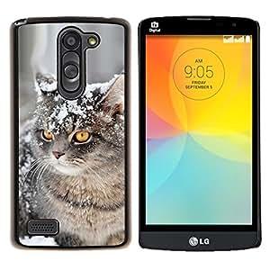 Curl Americano Shorthair británico Nieve- Metal de aluminio y de plástico duro Caja del teléfono - Negro - LG L Prime / L Prime Dual Chip D337