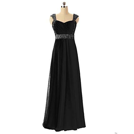 CuteShe Womens Long Straps Beaded Formal Evening Prom Dresses Black US Size 2