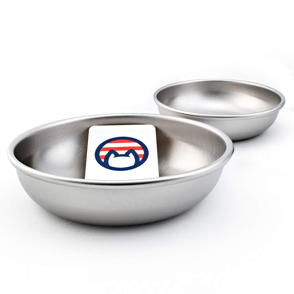 Americat Company Set of 2 Stainless Steel Cat Food and Water Bowls – Made in the USA – Safe Sturdy – Shallow and Wide to Prevent Whisker Fatigue