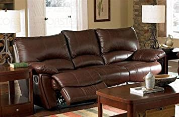 Clifford Brown Leather Double Reclining Sofa By Coaster   Warm Brown  Leather Match