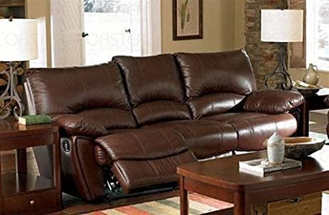 Amazoncom Clifford Brown Leather Double Reclining Sofa by