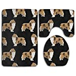 Rough Collie Dog Comfort Flannel Bathroom Rug Mats Set 3 Piece Soft Non-Slip with Backing Pad Bath Mat + Contour Rug + Toilet Lid Cover Absorbent 6