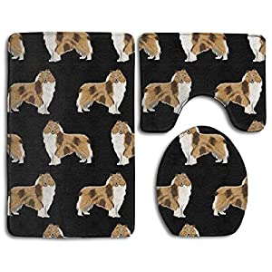 Rough Collie Dog Comfort Flannel Bathroom Rug Mats Set 3 Piece Soft Non-Slip with Backing Pad Bath Mat + Contour Rug + Toilet Lid Cover Absorbent 3