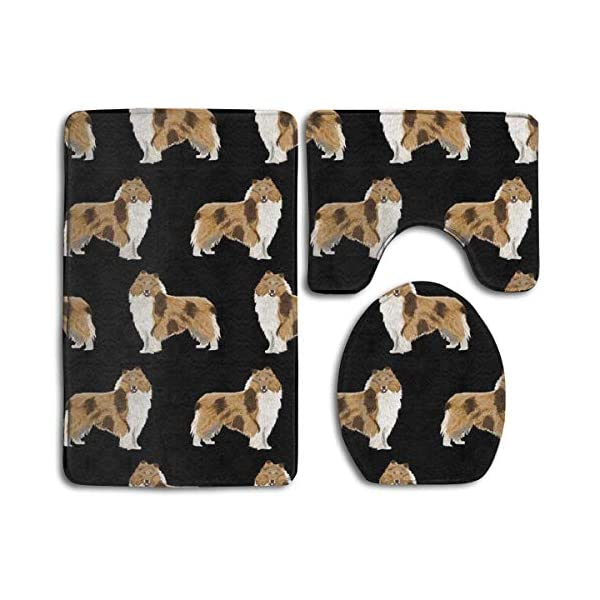 Rough Collie Dog Comfort Flannel Bathroom Rug Mats Set 3 Piece Soft Non-Slip with Backing Pad Bath Mat + Contour Rug + Toilet Lid Cover Absorbent 1
