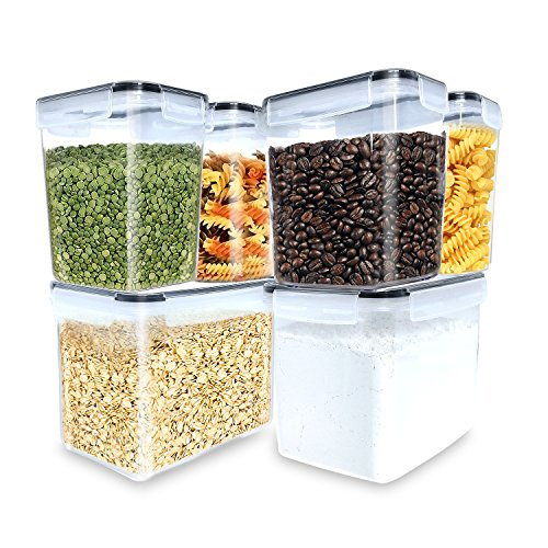 Inout airtight container set of 6,Tall Large Food Storage Sugar, Flour bakeware Containers - Leakproof With Locking Lids - BPA Free Plastic - Microwave, Freezer and Dishwasher Safe