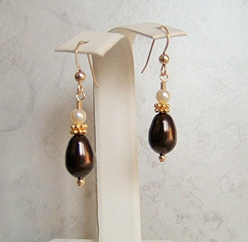 Dark Brown Teardrop Simulated Pearl Gold Filled Ear Wire Earrings Made With Swarovski Crystals Gift Idea