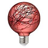 Judy Lighting - G95 LED Globe Fairy Light Bulb for Ambient Night Lighting, E26 Standard Medium Base Edison with Starry Decorative String Lights for Bathroom, Bedroom, Living Room (Red)