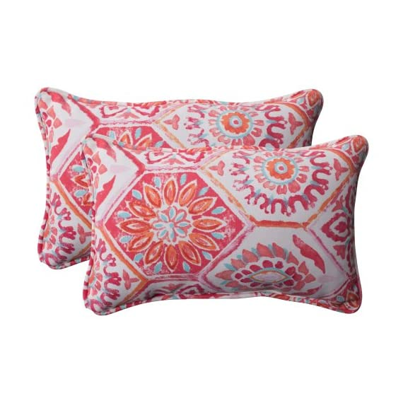 Pillow Perfect Outdoor Summer Breeze Corded Rectangular Throw Pillow, Flame, Set of 2 - Includes two (2) outdoor pillows, resists weather and fading in sunlight; Suitable for indoor and outdoor use Plush Fill - 100-percent polyester fiber filling Edges of outdoor pillows are trimmed with matching fabric and cord to sit perfectly on your outdoor patio furniture - living-room-soft-furnishings, living-room, decorative-pillows - 51UiXB ddsL. SS570  -