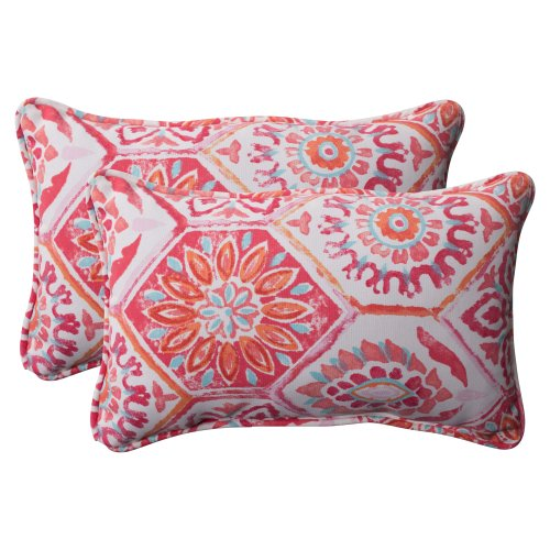 Pillow Perfect Outdoor Summer Breeze Corded Rectangular Throw Pillow, Flame, Set of 2 ()