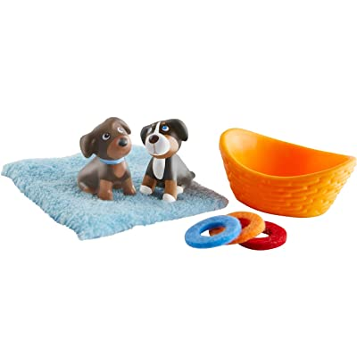 HABA Little Friends Puppies - Chunky Plastic Pets - Includes 2 Pups, Blanket, Basket and 3 Frisbees: Toys & Games