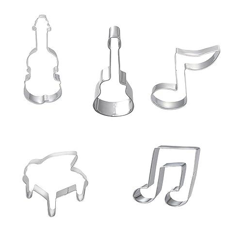 WFZ17 - Molde de acero inoxidable para tartas de violín, diseño de notas musicales,