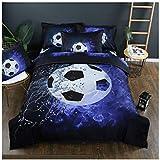 Homebed 3D Sports Football Bedding Set for Teen Boys,Duvet Cover Sets with Pillowcases,King Size,3PCS,1 Duvet Cover+2 Pillow Shams