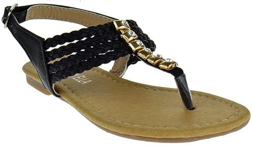 694a409c52f18 Steven Ella C 6201 Little Girls Braided Rhinestone Gladiator Flat Sandals  Black 10