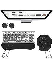 AtailorBird Musmatta med handledsstöd, tangentbord handledsstöd, hållbar bekväm 2 set för laptop kontor spelarbete, 2 delar PU & korkunderlägg gratis, svart