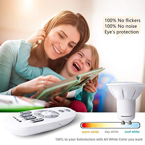 LAMPAOUS GU10 LED Light Bulbs Dimmable Smart Bulb,2700k to 6500k White and Color Ambiance Spotlight,50W Halogen Bulb Equivalent,Work with LAMPAOUS Wireless Remote,No Dimmer Required,10 Bulbs Pack by LAMPAOUS (Image #5)