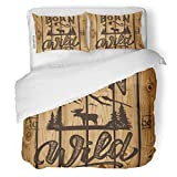 SanChic Duvet Cover Set Hand Made Vintage Logotype Moose on Wood Plank Decorative Bedding Set with 2 Pillow Shams King Size